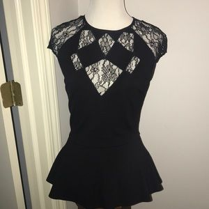 Guess peplum and black lace blouse